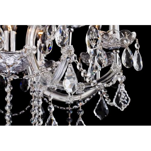 Lustra living cristal Maytoni Inverno, argintie, 9xE14 40W, H:65-99cm