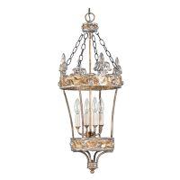 Candelabru artistic Flambeau Crown, E14, 4x60W, argintiu-auriu, H 98-284 cm