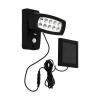 Proiector LED solar Palizzi cu senzor, negru, H:14,5cm, IP44, 2W