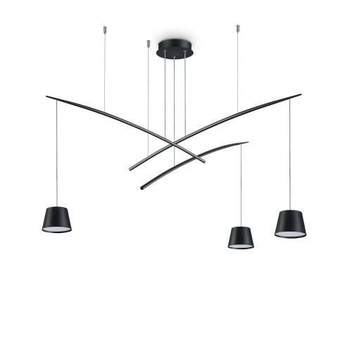 Lustra LED sufragerie Fish Sp3 Nero, neagra, 18W