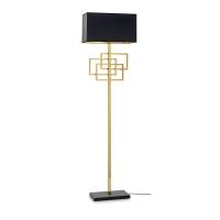 Lampadar de podea pentru living Luxury Pt1 Ottone, alama aurie/negru, E27 x 60 W