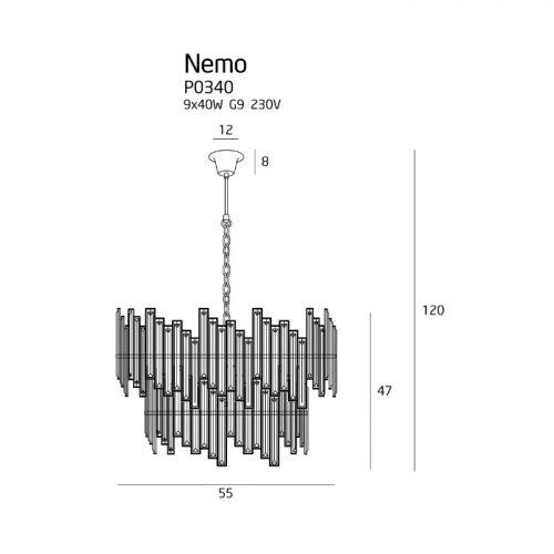 Candelabru cristal Nemo, crom, G9, 9 x 40 W cu diametrul 55 cm