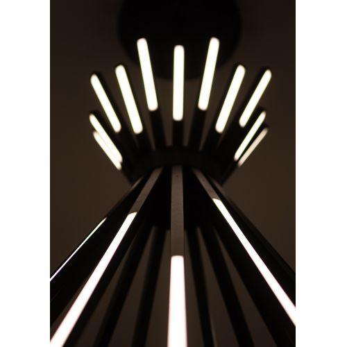 Lustra LED cu tije luminoase Tipi, neagra, 88 W, 6160 lumeni, Ø: 68 cm
