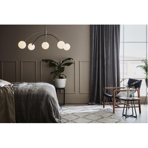 Lustra omnidirectionala living si dormitor Heaven, otel inox, G9, 5 x 28W, diametru 117 cm, H:70-190cm