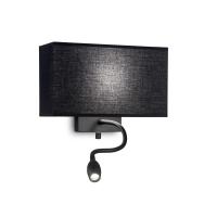 Lampa de citit Hotel Ap2 All Black cu lumina de ambient si intrerupator cu doua faze separate, Negru, 2 becuri, 1x3W-LED, alb cald, 45 lumeni