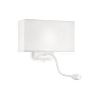 Lampa de citit Hotel Ap2 All White cu lumina de ambient si intrerupator cu doua faze separate, Alba, 2 becuri, 1x3W-LED, alb cald, 45 lumeni