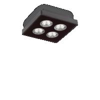 Plafoniera Garage Pl4 Square Nero, Negru-Transparent, 12W-LED, alb cald, 1080 lumeni