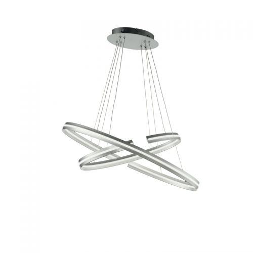 Lustra LED sufragerie ICS, argintie, 5400 lumeni, 54W, 3000K, LED dimabil alb cald
