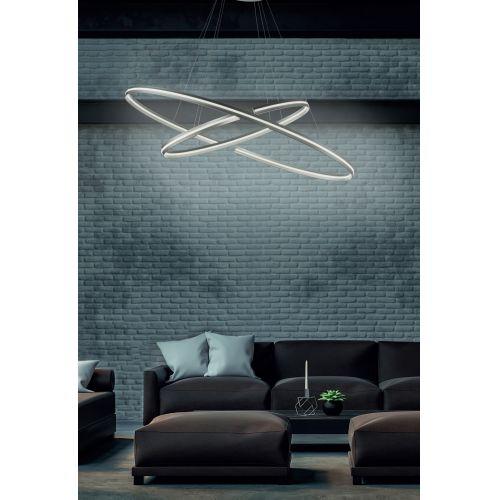 Lustra LED living ICS, argintie, Ø120 cm, H:130 cm, 7500 lumeni, 75W, 3000K, LED dimabil alb cald