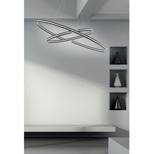 Lustra LED living ICS, neagra, Ø120 cm, H:130 cm, 7500 lumeni, 75W, 3000K, LED dimabil alb cald