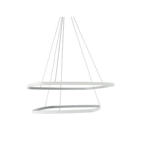 Lustra LED Loft Quadra, Ø70 cm, H:150 cm, 6000 lumeni, 60W, 3000K, LED dimabil alb cald