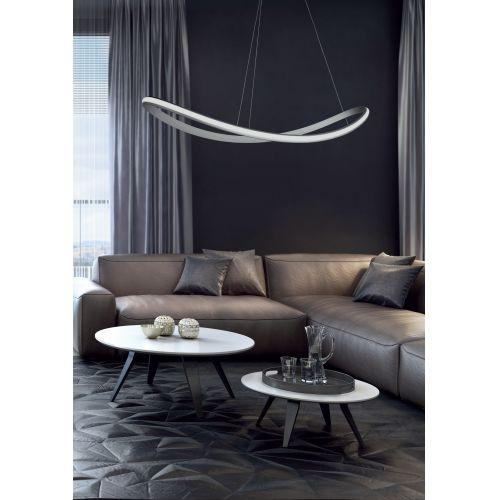 Lustra LED living Sinuo, argintie, L:120 cm, 5500 lumeni, 55W, 3000K, alb cald