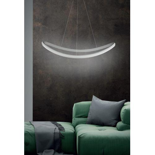 Lustra LED living Sinuo, argintie, 49W-LED, 4900 lumeni, L:88 cm, 3000K, alb cald