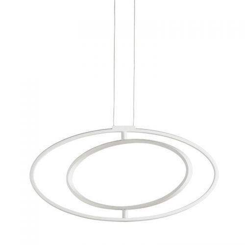 Lustra LED O'RING, alba, L:65cm, 3200 lumeni, 32W, 3000K, alb cald