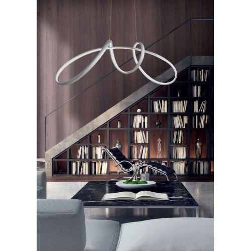 Lustra LED birou fantezista Lumen, argintie, L:85 cm, 5400 lumeni, alb cald, H:60-120 cm