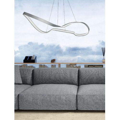 Lustra LED rasucita living Spark, 130 cm, 4000 lumeni, alb cald, dimabila