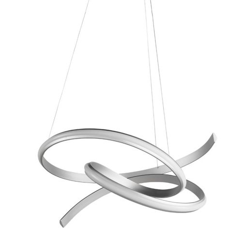 Lustra LED pe banda argintie Sigma, 65 cm, 4000 lumeni, alb cald, dimabila