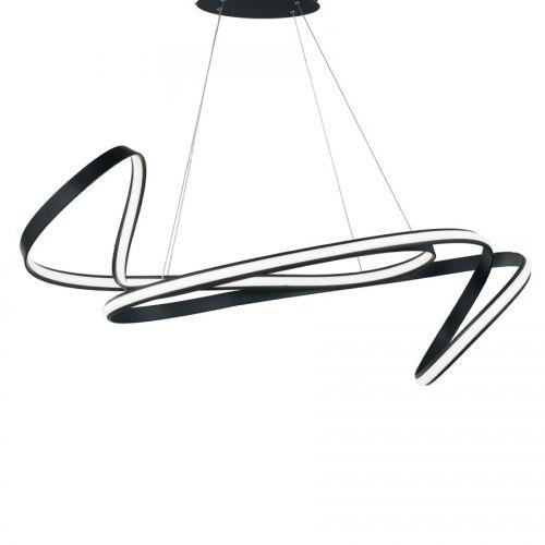 Lustra LED pe banda Fly, 110 cm, 6000 lumeni, alb cald, dimabila, neagra sau argintie