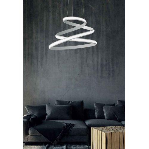 Lustra spirala LED pe banda metalica argintie Vuelta, D:57cm, 5000 lumeni, alb cald, dimabila