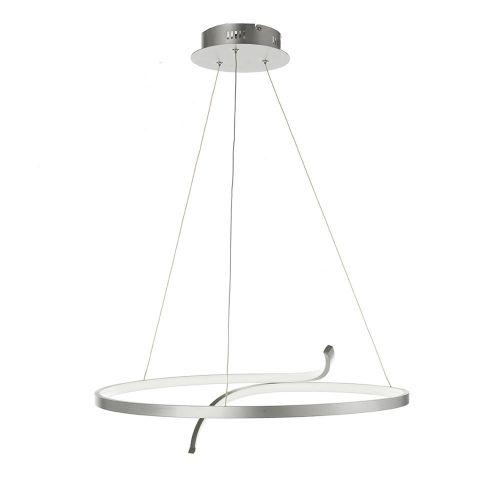 Lustra LED pe banda metalica argintie Virgo, D:61cm, H:45-150cm, 3600 lumeni, alb cald, dimabila