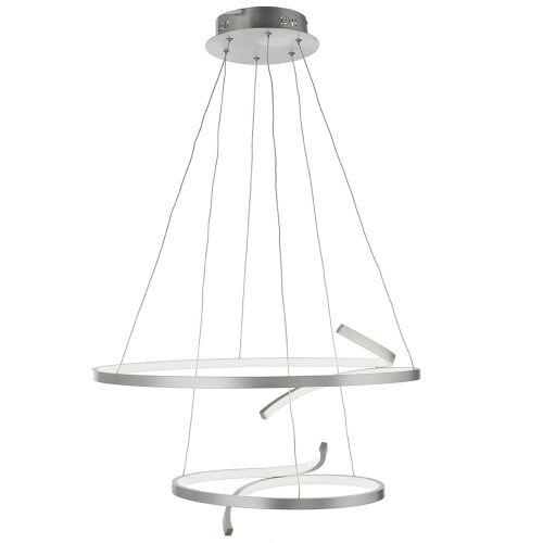 Lustra LED pe banda metalica argintie Virgo, D:61cm, H:55-160cm, 6000 lumeni, alb cald, dimabila