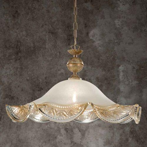 Lustra bucatarie clasica Ivory, D:50 cm, sticla ivorie cu decor auriu, E27 60W, H:51-125 cm
