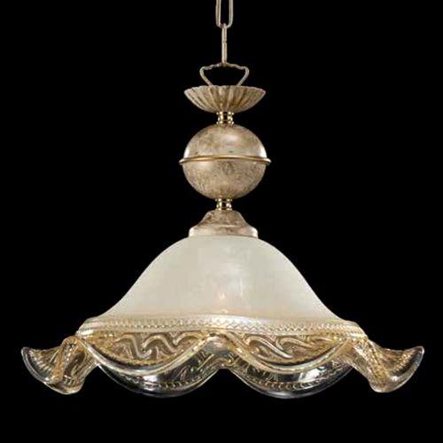 Lustra bucatarie clasica Ivory, D:30 cm, sticla ivorie cu decor auriu, E27 60W, H:45-120 cm