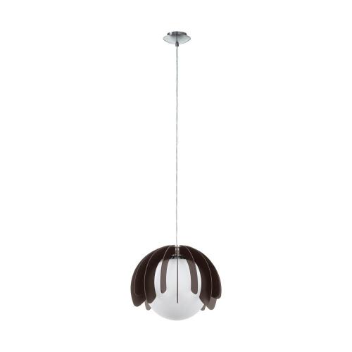 Lustra rustica cu lamele din lemn negru si glob de sticla alba Ø360, 1xE27, cu suport tavan finisat nichel mat