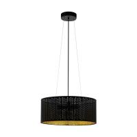 Lustra moderna abajur textil negru-auriu decupat, 3xE27, Eglo Varillas, D 53 cm
