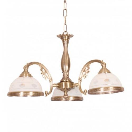 Lustra dormitor clasica KL7021 Camille 3 Klausen/Primanova 3x60W E27 metal bronz, sticla alba