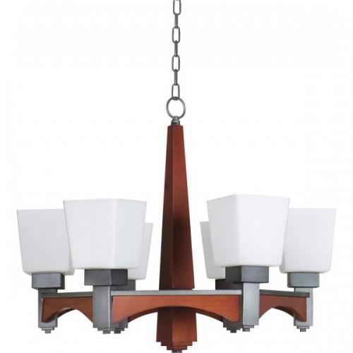 Lustra KL2595 Arcada 6 Klausen/Primanova 6x60W E27 metal negru, lemn finisaj cires sticla alba
