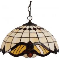Lustra Tiffany KL1781 Baroc SP2 Klausen/Primanova 2x60W E27 metal maro antic, sticla multicolora