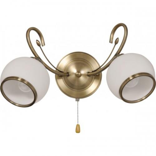 Aplica KL7089 Malawi AP2 Klausen/Primanova 2x60W E27 metal bronz satin, lemn finisaj mahon, sticla alba