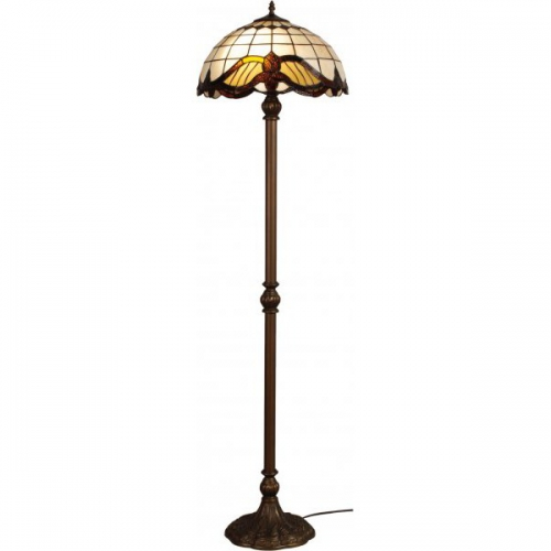 Lampadar Tiffany Baroc PT2 Klausen/Primanova 2x60W E27 metal maro antic, sticla multicolora