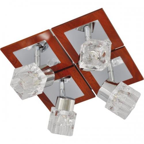 Klausen KL7727 Ritz PL4, crom/transparent, plafoniera 4 becuri